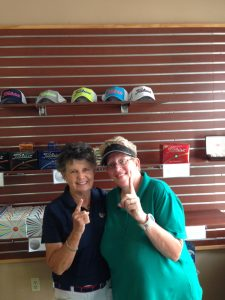 Andreae K. Hoosty (2016 Low Gross Champion, Suzanne Schlotterbeck (on right, 2016 Low Net Champion)