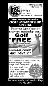 Berwick Golf Club Special Membership